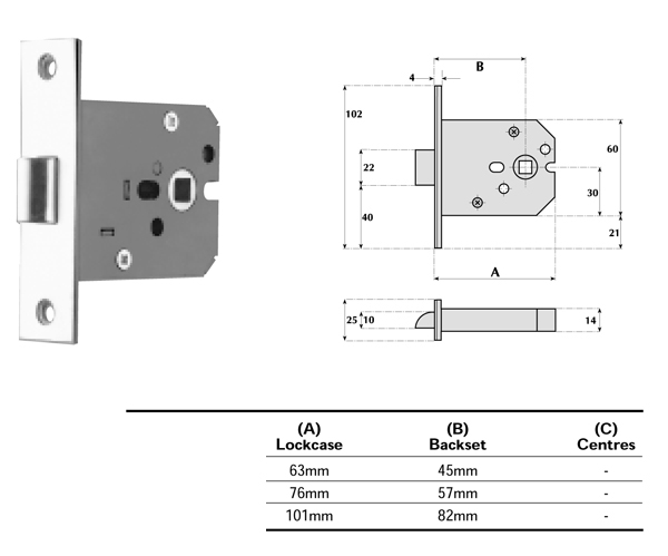 Mortice Latch 63mm Case 45mm Backset Standard Springing 18-030 Satin Brass
