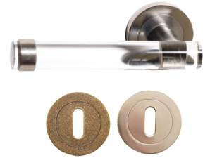 X49-700 Crystal Clear Bar Lever on Rose Lock Satin Nickel