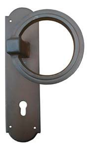 Ferramenta 63-160 Fixed Left Ring Door Pull on Plate Antique Black