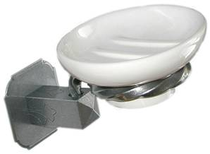 X55-036 Soap Dish & Holder on Square Rose White/Patine