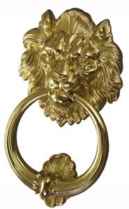 X07-000 Lion Head Door Knocker 190mm Bright Brass