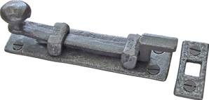 32-089 Cranked Cupboard Bolt 101mm with Mortice Plate Patine
