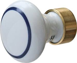 Porcelain Cabinet Knob 30mm  White With Blue Ring X34-900