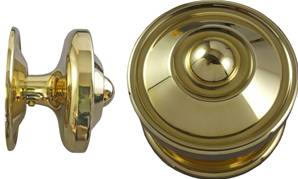 X06-820 Contemporary Round Centre Door Knob 90mm Bright Brass