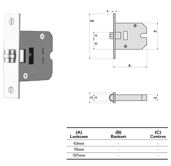 Mortice Roller Latch 63mm Case 45mm Backset Heavy Duty Springing 18-060 Satin Brass